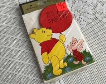 Vintage Winnie the Pooh Children's Party Invitations / Walt Disney Cards and Envelopes by Hallmark