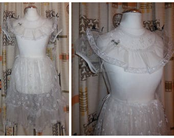 Vintage 1930s 40s Girls Dress XS Women's Dress Sheer White Net Lace Ruffles Puff Sleeves Lolita Dress Cosplay Anime Amazing! chest to 33 in.