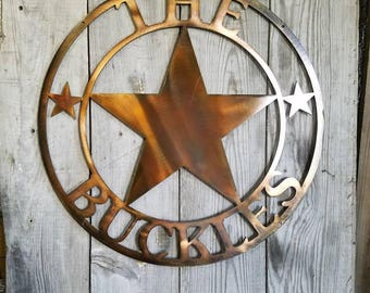 Custom Personalized Steel Texas Star Plaque House Sign Marker Metal Welcome or Establish Date