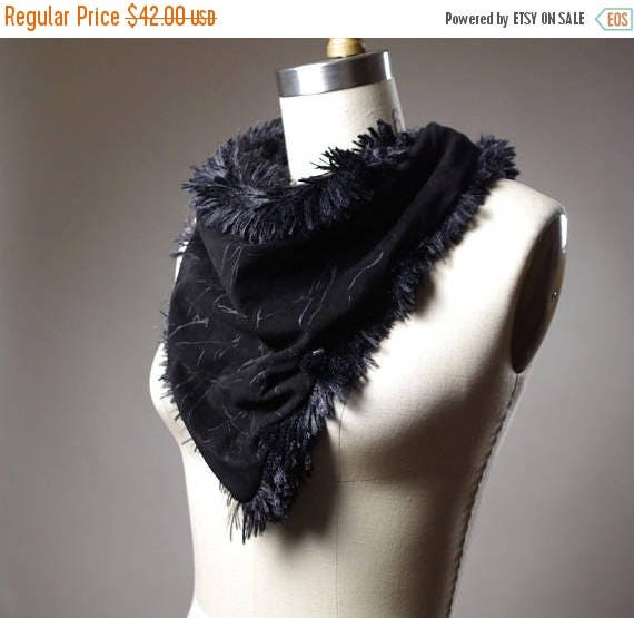 ON SALE Black Suede Neck Warmer - Fluffy Leather Neck Warmer - Leather Neck Warmer - Fluffy Scarf