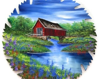 Hand Painted Saw Blade Summer Covered Bridge NEW!!