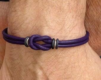 Leather Mens Bracelet, Purple Leather Bracelet, Celtic Leather Bracelet, Celtic Knot Bracelet