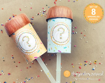 Sprinkles Confetti Push-Pops for Gender Reveal Parties - Set of 8