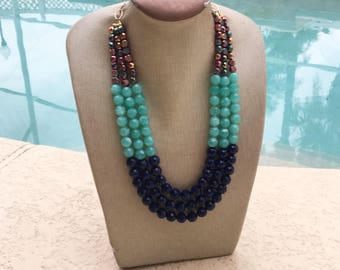 Statement Necklace Bridesmaid Jewelry POOLSIDE Necklace  Wedding Jewelry Statement Jewlery SPARKLING Bright Blue  Bib Necklace