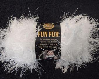 Lion Brand Yarn Fun Fur Color 100 White New 1 Skein