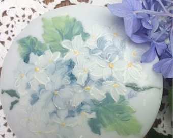 White Hydrangeas hand painted on a porcelain box
