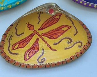 Yoga-inspired Hand painted shell. Dragonfly/Transformation. Ring dish, crystals, incense, holiday gift, decor