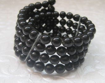 Black Memory Wire Bracelet, 4 Strands, 1950's, Mid-Century