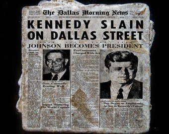 Kennedy Assassination news story coaster set. **Ask for free gift wrapping and have them sent directly to the recipient!**