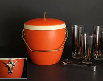 Vintage GHS Ware Mid Century Orange Ice Bucket With Gold Bull Details and Handle Texas Longhorn Retro Barware