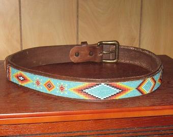 "One of a Kind - Handmade Beaded Leather Belt / Native American Style / Southwestern Design- Beaded Leather Belt-33""-37"""