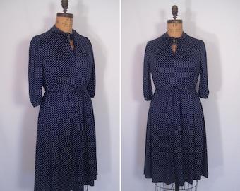 1970s navy swiss dot day dress • 70s ink blue and white polka dot print secretary dress • vintage double shot dress
