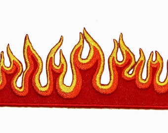 Red Orange Yellow Flaming Fire Flames Embroidered Iron on Applique Patch