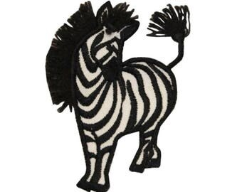 ID 0628A Wild Zebra Patch Long Mane Safari Animal Embroidered Iron On Applique