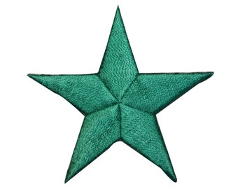 ID 3443 Green Star Patch Symbol Space Night Sky Embroidered Iron On Applique