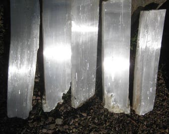 Selenite Fireplace logs - FREE SHIPPING - 5 crystal Logs - all included
