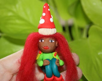 Red Toadstool Fairy Model. She has Toadstool hat detail And Boots.Fairy Garden Accessories.Fimo Clay Fairy model.Miniature toys.