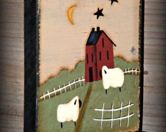Primitive Hand Painted Folk Art Shelf Sitter ~ Primitive Home Decor ~ Primitive Table Sitter ~ Country Decor ~ Farmhouse Decor