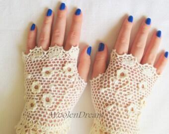 Crochet fingerless gloves,bridal accessories, crochet jewelry,bridesmaid gloves,vintage lace gloves,bohemian summer gloves, romantic wedding