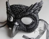 NEW! Metallic Silver and Black Owl Mask