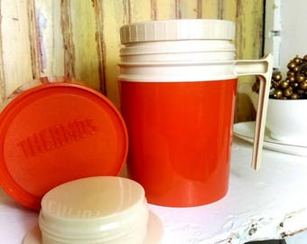 Vintage Thermos, Orange, Vintage Camper, Hot, Cold Thermos, Retro kitchen.