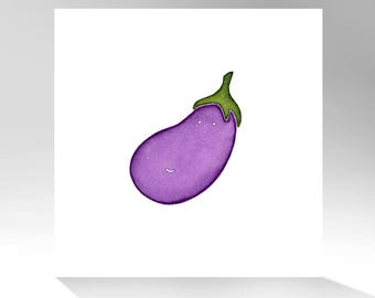 Archival Quality Print of Original Watercolor Painting / Eggplant