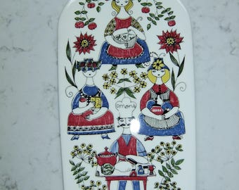 RESERVED // Vintage large porcelain board/trivet Mons o Mille - Turi Design - Figgjo Flint Norway