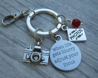 Personalized Photograper Keychain, When Life Gets Blurry Adjust your Focus Zipper Pull, Accessory, Camera Keychain Lanyard, Photography Gift