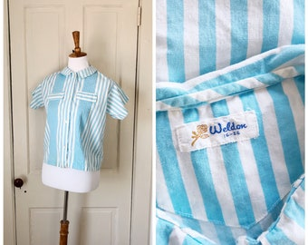 Meet Me at the Carnival 1950s Short Sleeve Blue and White Striped Cotton Blouse