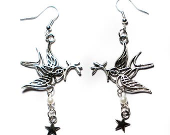 Silver Dove earrings Pearl and Star