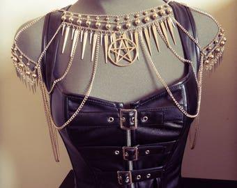 Belly dance gold armor necklace goth pentagram ♰ 666 Devil Catcher 666 ♰