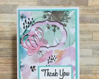 Greeting card, Handmade card, occasion card, thank you card, butterfly, watercolor
