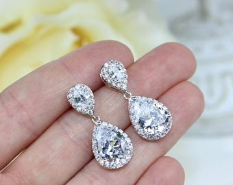 Bridesmaid Gift Crystal Teardrop Earrings White Gold Plated Wedding Earrings, Bridal Jewelry, Wedding Gift FREE Personalized Card!!