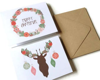 Set of 8 // Christmas Card Set // Blank Christmas Cards // Boxed Christmas Card Set // Holiday Cards // Christmas Note Cards // Deer Cards