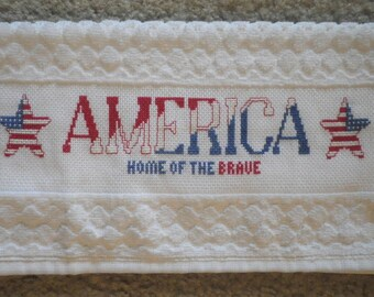 """America Home of the Brave XL Hand Towel HUGE 16x24"""" Stars Stripes 4th of July Kitchen Guest Bath Completed Cross Stitch Gift Bathroom"""
