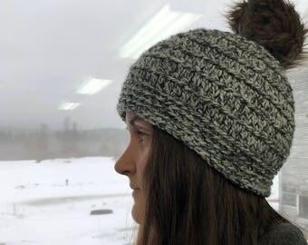 Satin Lined Faux Fur Pom Pom Beanie, Womens winter hat, warm winter hat, womens beanie hat, satin lined hat