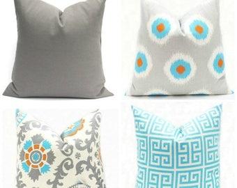 15% Off Sale Decorative Pillow Gray Aqua Pillow - Aqua Pillow Cover, Gray Pillow, Throw Pillow, Accent Pillow, Cushion Cover, Toss Pillow