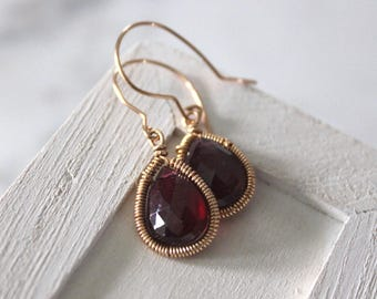 Red Garnet Earrings - Minimal Earrings - Dainty Earrings   - January Birthstone- Gold Earrings - Gift For Her -silverlilyjewelry