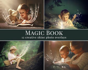 "Shine photo overlays ""Magic book"", creative digital photo overlays for Photoshop, great for minis, outdoor photography, kids & family pics"