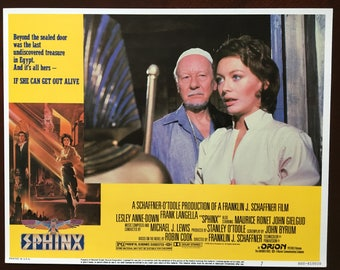 Lobby card from movie Sphinx with Frank Langella and Lesley Anne Down.