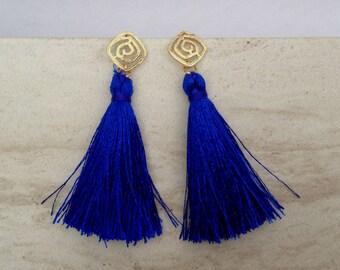 """Indigo Tassel Earrings Matte Gold Filigree Swirls, Navy Tassels,Statement Tassle Earrings, 2"""" Blue Silk Tassels, Wedding, Holiday Jewelry"""