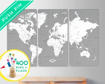 Customized World Map Canvas Push Pin - Gray White  - Set 3 CANVAS - Customized Gifts - Ready to Hang - 240 Pins + 198 World Flag Sticker