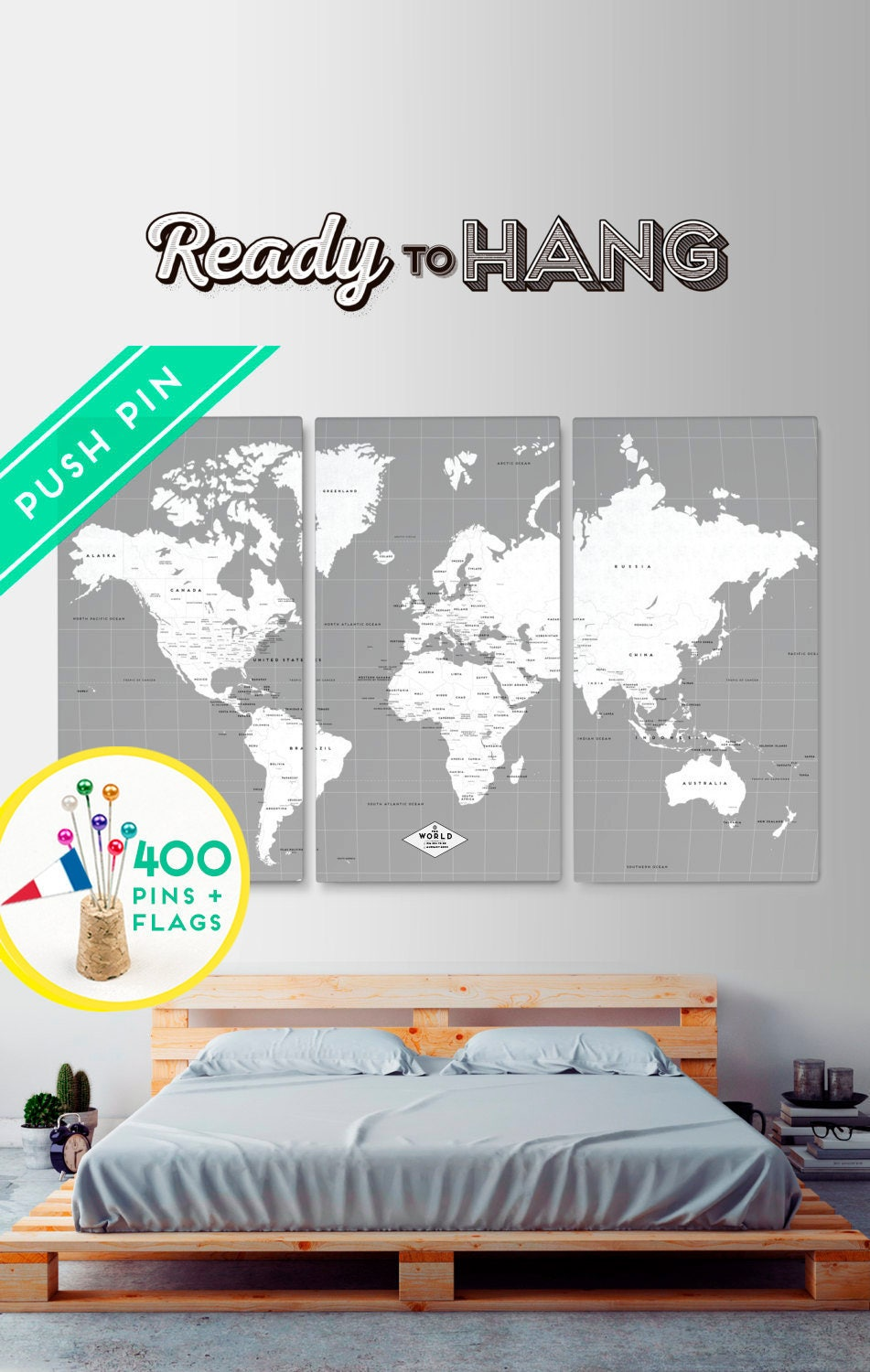 Customized world map canvas push pin gray white set 3 canvas customized world map canvas push pin gray white set 3 canvas customized gifts gumiabroncs Image collections
