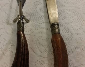 Vintage Carving Set Monarch Cutlery Carving Knife Serving Fork Bone Handles Set of Two Items