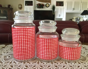 Vintage Glass Jars, Red and White Gingham Check Pattern, Housewares, Set of 3, Kitchen and Dining, Canisters, Storage Jars, Containers
