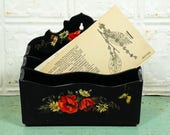 Vintage Decoupage Black Desk Letter Sorter with Daisies and Roses, Divided Desk Box