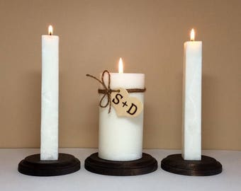 ON SALE - Unity Candle Set and Stand Personalized with Monogram for Wedding Ceremony