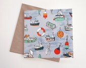 Nautical Boats Art Greeting Card | Any Occasion | Blank Inside