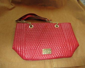 vintage Kenneth Cole Reaction  red leather quilted purse, chain handle excellent condition