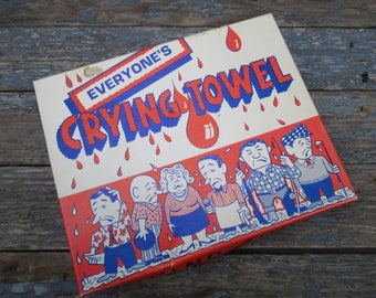 Everyone's Crying Towel, 1970 Art Anson Inc. Illustrated Crying Towel, Still in Box Unused, Vintage Novelty Gift